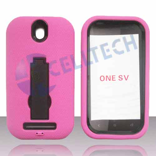 ARMOR SHIELD HTC 1SV HOT PINK / BLACK