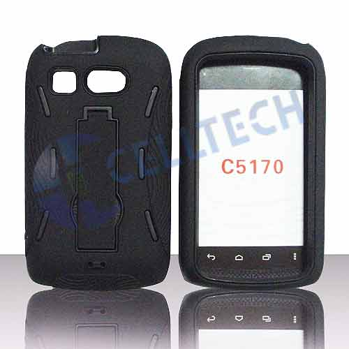 ARMOR SHIELD WITH KICK STAND KYOCERA HYDRO C5170 BLACK / BLACK