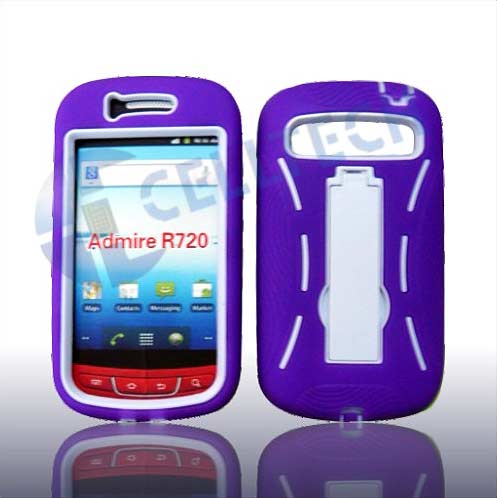 ARMOR SHIELD  WITH KICK STAND SAMSUNG R720 PURPLE / WHITE