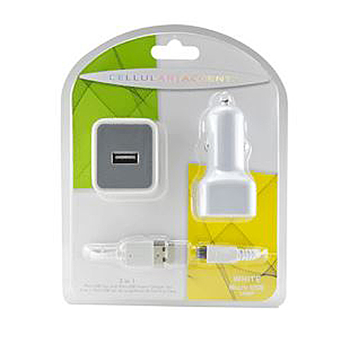 ACCENTS 3 IN 1 TRAVEL/CAR CHARGING KIT MICRO USB 1000mAh WHITE