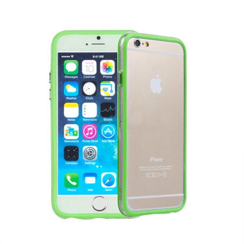 CLEAR HYBRID BUMPER FOR iPHONE 6 LIME GREEN