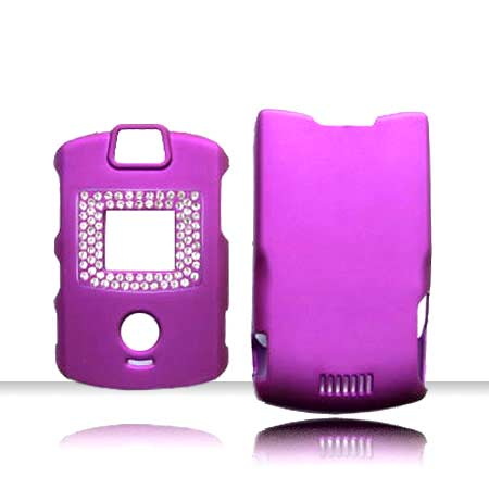 SNAP ON DIAMONDS MOTOROLA RAZR V3 PURPLE