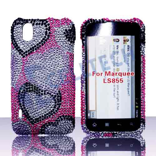 SNAP ON FULL DIAMONDS LG MARQUEE LS855 PINK HEARTS
