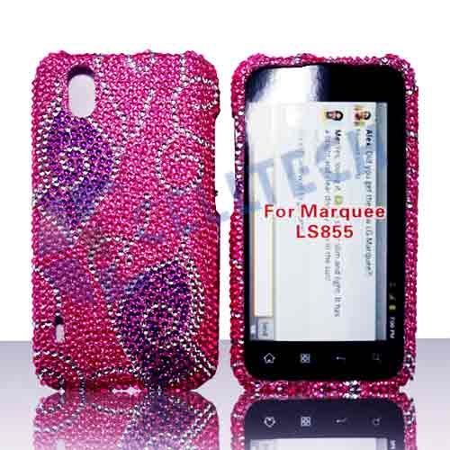 SNAP ON FULL DIAMONDS LG MARQUEE LS855 PURPLE BUTTERFLY