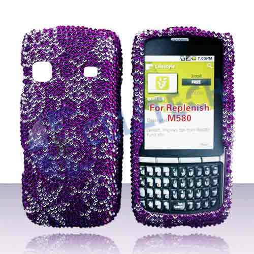 SNAP ON FULL DIAMONDS SAMSUNG REPLENISH M580 PURPLE SNOW FLAKES
