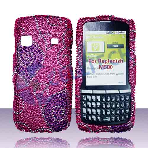 SNAP ON FULL DIAMONDS SAMSUNG REPLENISH M580 PURPLE BUTTERFLY