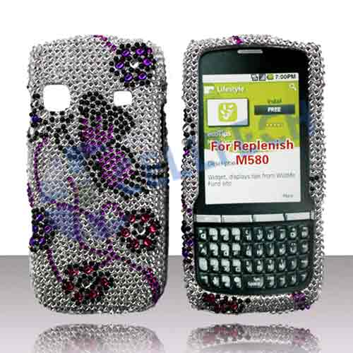 SNAP ON FULL DIAMONDS SAMSUNG REPLENISH M580 SILVER BUTTERFL