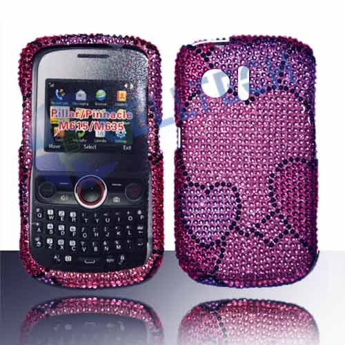 SNAP ON FULL DIAMONDS FOR HUAWEI PINNACLE M635 HEART BUNCH