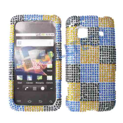SNAP ON FULL DIAMONDS M820 GALAXY PREVAIL YELLOW BLUE SQUARES