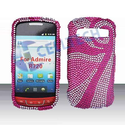 SNAP ON FULL DIAMONDS FOR SAMSUNG ADMIRE R720 PINK WAVES