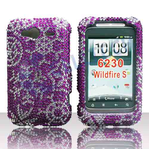 SNAP ON FULL DIAMONDS FOR HTC WILDFIRE-S PURPLE SNOW FLAKES