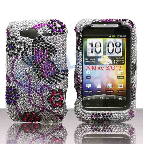 SNAP ON FULL DIAMONDS FOR HTC WILDFIRE-S SILVER BUTTERFLY
