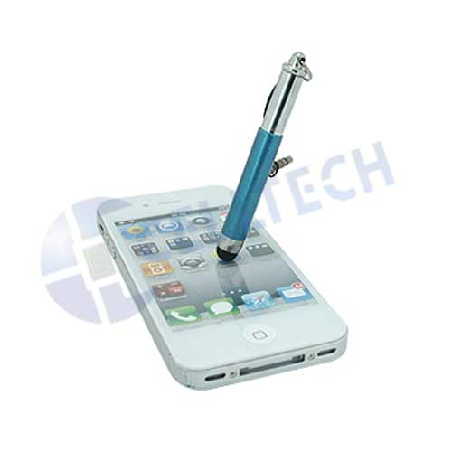 UNIVERSAL RETRACTABLE STYLUS PEN + 3.5MM JACK HOLDER BLUE