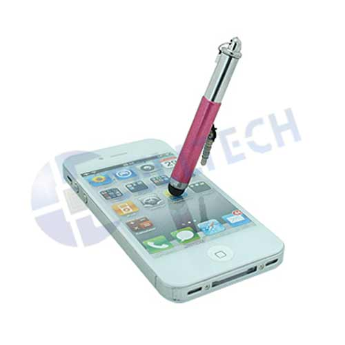 UNIVERSAL RETRACTABLE  STYLUS PEN + 3.5MM JACK HOLDER HOT PINK