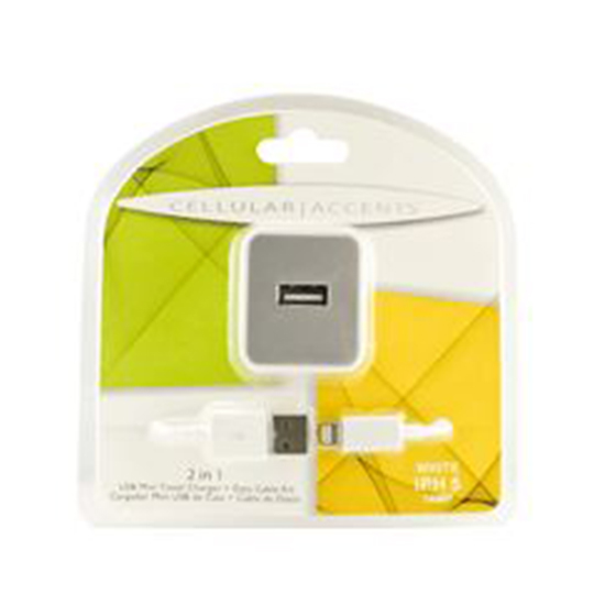 2 IN 1 TRAVEL CHARGER COMBO IPH5 1AMP WHITE