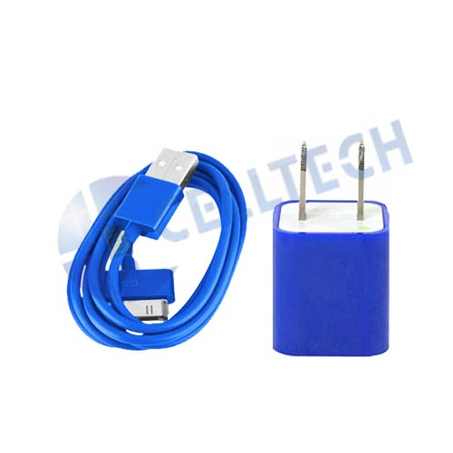 2 IN 1 TRAVEL CHARGER COMBO iPHONE 4/4S BLUE